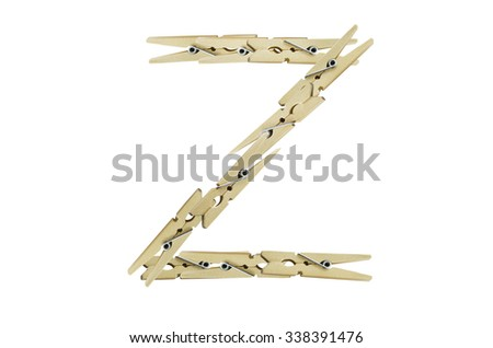 Alphabet Z, created by small light wooden pegs isolated on white background - stock photo