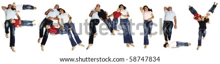 """Alphabetic characters of word """"FAMILY"""" created with family members lying on floor on white background. - stock photo"""