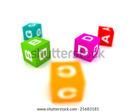 alphabetical toys in cube shape - shallow focus