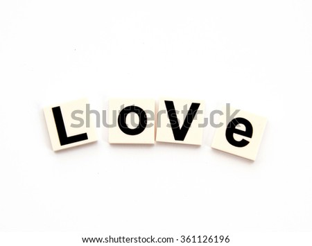 Alphabets word love on white background