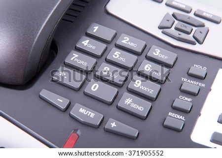 Alphanumeric keyboard of a landline that is hung