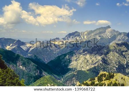 Alpi Apuane (Tuscany, Italy): mountain landscape at summer - stock photo
