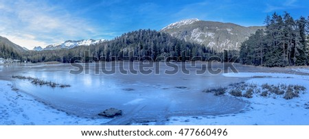 Alpine frozen lake