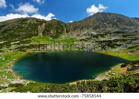 Alpine lake in National Park Retezat, Romania - stock photo