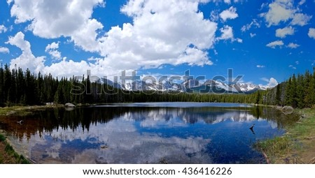 Alpine Lake, Snow Capped Mountains, Clouds and Reflections. Bierstadt Lake, Rocky Mountains National Park near Denver, Colorado State, USA.