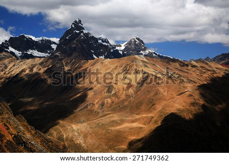 Alpine landsape in Cordiliera Huayhuash, Peru, South America - stock photo