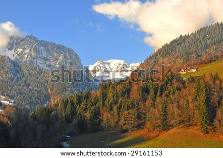 Alpine landscape (Switzerland) - stock photo