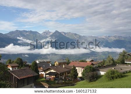 Alpine landscape switzerland town of Nendaz - stock photo