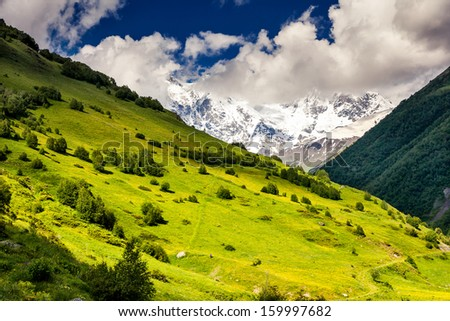 Alpine meadows with dramatic sky at the foot of  Mt. Shkhara. Upper Svaneti, Georgia, Europe. Caucasus mountains. Beauty world. - stock photo