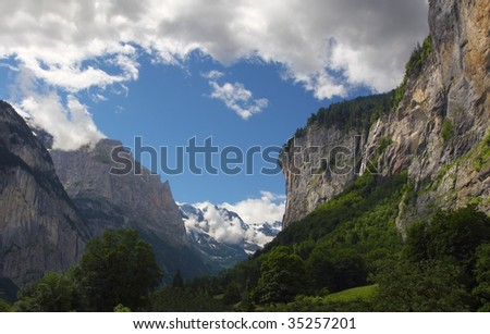 Alpine mountain landscape, Lauterbrunnen valley - Switzerland