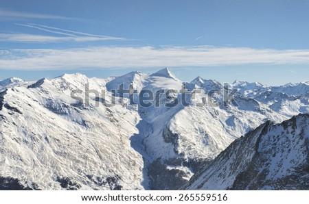 Alpine mountain range aerial view  winter landscape - stock photo