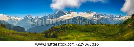 Alpine Panorama: Eiger North Face, Swiss Alps - stock photo