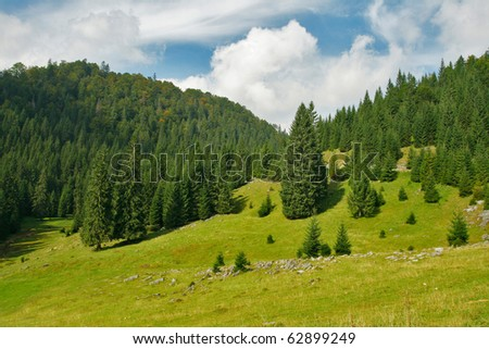 Alpine plateau scenery - stock photo