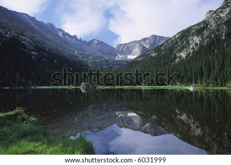 Alpine reflections at Mills Lake in Rocky Mountain National Park - stock photo