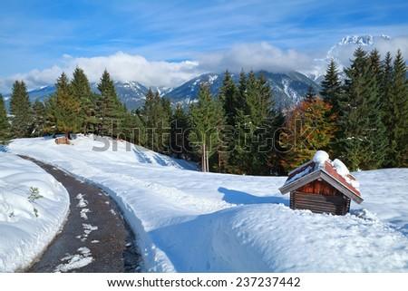 Alpine road in snow winter, Bavaria, Germany - stock photo