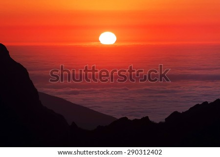 Alpine sunset light in Madeira Island, Portugal, Europe - stock photo