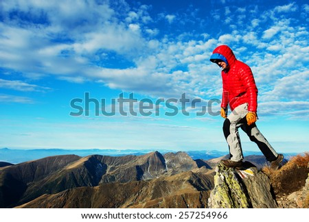 Alpine trekking in the Transylvanian Alps, Romania, Europe - autumn colours - stock photo