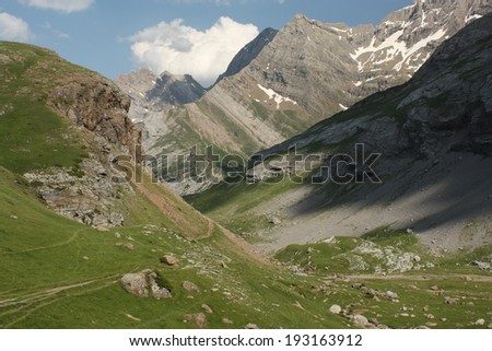 alpine valley in Pyrenees National Park - stock photo