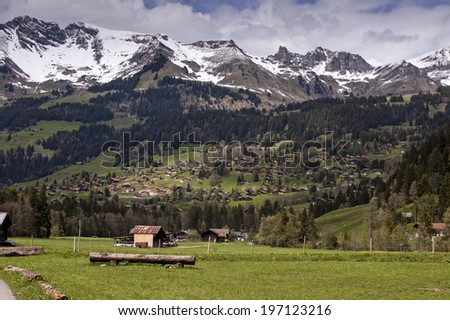 Alpine village in the spring - stock photo