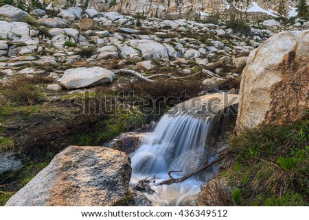 Alpine waterfall in the Wasatch Mountains, Utah, USA. - stock photo