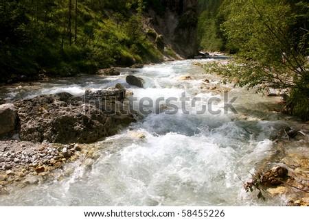 Alpine wild creek Wimbach in the german Alps near Berchtesgaden - stock photo