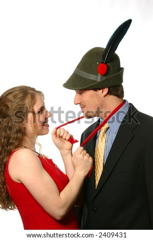 Alpini in suit and tie meeting beautiful woman - stock photo