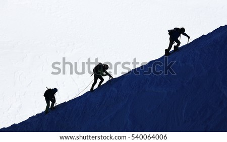 Alpinists climbing in Haute Savoie, France