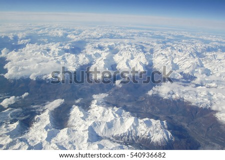 Alps Aerial View from airplane