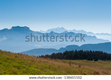 Alps and Mont Blanc (Monte Bianco) view from Cret de Chatillon, France (1) - stock photo