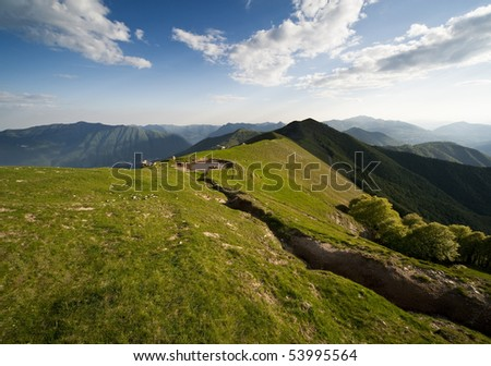 alps at lake como - stock photo