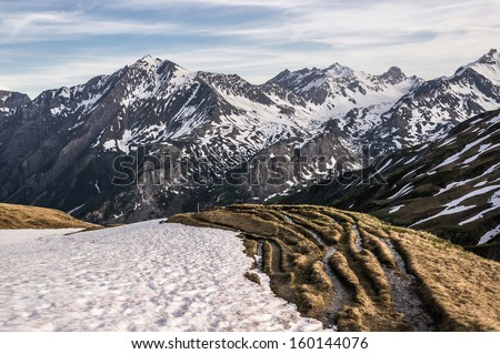 Alps at sunset, france - stock photo
