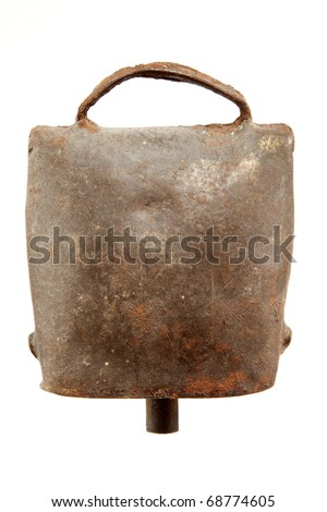 Alps cowbell on white background - stock photo