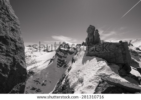 Alps from the top in black and white - stock photo