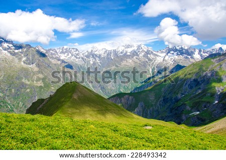 Alps in France - Trekking in the mountains of France - stock photo