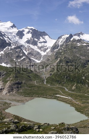 Alps in Switzerland with Glacier lake near Susten - stock photo