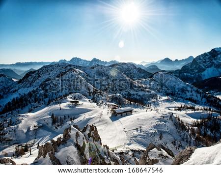 Alps in winter, Ski resort Nassfeld - Mountains Alps, Austria - stock photo