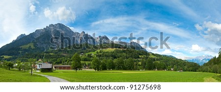 Alps mountain country tranquil summer view (Austria).  Three shots composite picture.