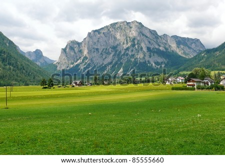 Alps mountain meadow tranquil summer view.