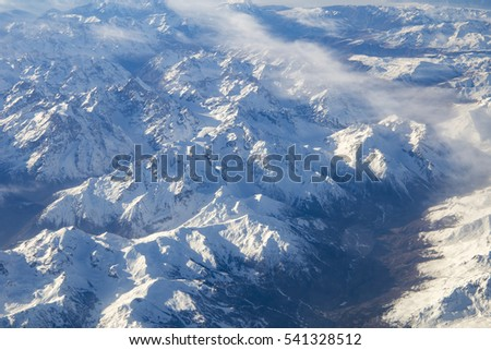 Alps mountains and Clouds from above