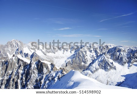 Alps Mountains. View from Aiguille du Midi , France.