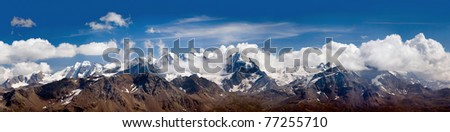 Alps panorama peak cloud tops mountains, landscape - stock photo