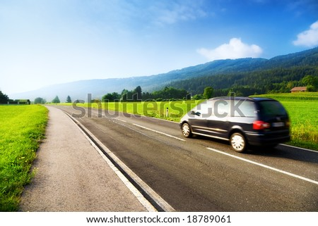 Alps travel. Wide angle view. - stock photo