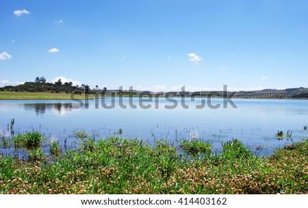 Alqueva lake near Amieira village, Portugal - stock photo
