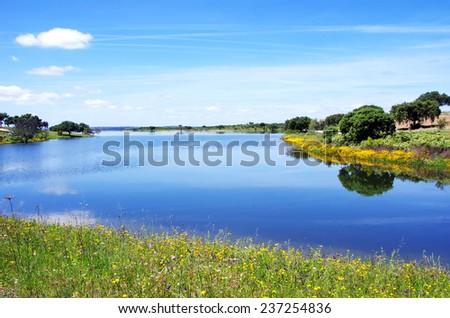Alqueva Lake near Estrela village, Portugal.  - stock photo