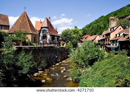 Alsace Breathtaking scene of Kayserber village, France - stock photo