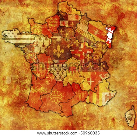 Alsace on old map of france with flags of administrative divisions