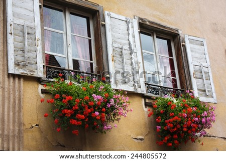 Alsace Window Flower Boxes - stock photo