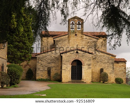 Also known as Santullano, is a Pre-Ramirense church from the beginning of the 9th century in Oviedo, the capital city of the Principality of Asturias, Spain. - stock photo