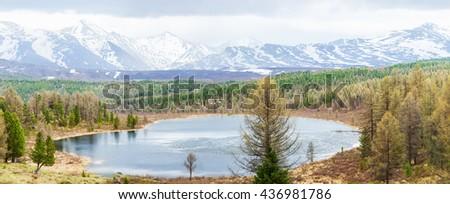 Altai mountains panorama with lake - stock photo