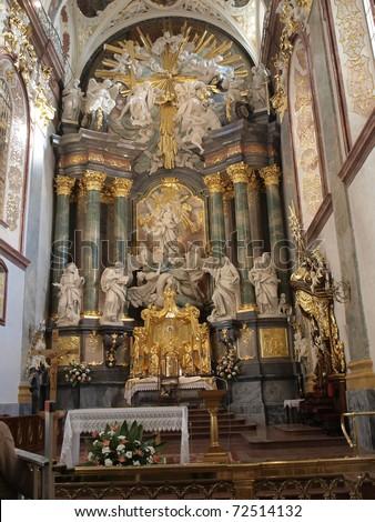 altar in the Basilica of Jasna Gora in Czestochowa Poland - stock photo